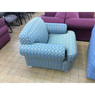 Lt Green multi color square pattern living room chair