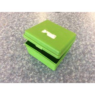 Green plastic card file box