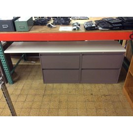 18 3/4x84x29 Mauve dbl 2 drawer lateral file w/work surface