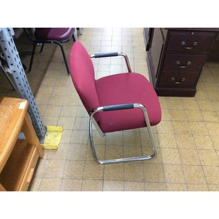 Red metal frame side chair