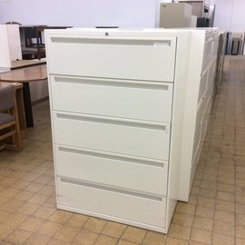 18x36x55 1/4 White 5 drawer Lateral File