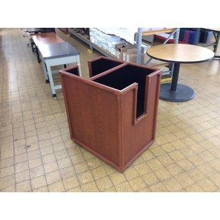 26x34x38 Cherry wood dual magazine bin on castors