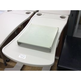Beige metal monitor stand