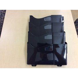 Black plastic wall mount 4 bin file trays