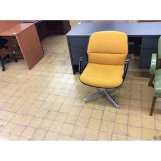 Metal frame yellow padded side chair