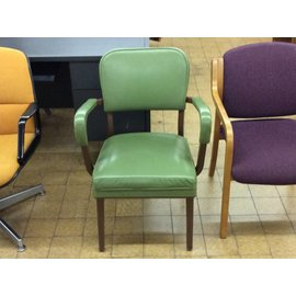 Metal frame green padded side chair