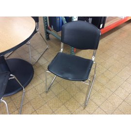 Black plastic metal frame stacking chair