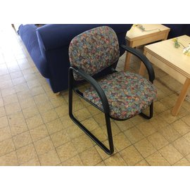 Leaf pattern padded metal frame side chair