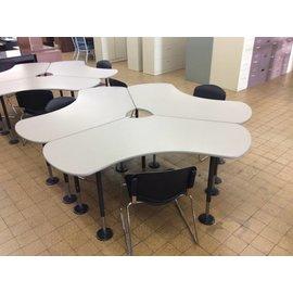 25x67x29 Lt Gray half moon adjustable height table