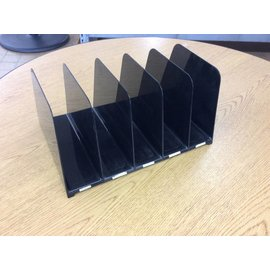 5 slot file organizer black plastic