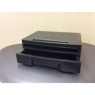 Black plastic monitor stand w/drawer