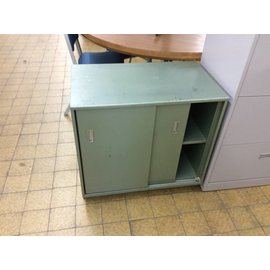 "18x30x28"" Green metal storage unit"