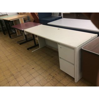 "24 3/4""x70""x29 1/2 Beige metal desk with right return"