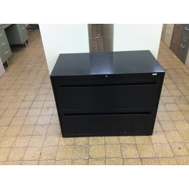 "19 1/8""x36""x28"" Hon Black 2 drawer lateral filing cabinet"