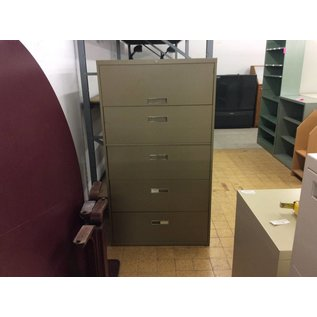 "18x36 1/8x64 3/4"" Brown 5 drawer lateral file cabinet"