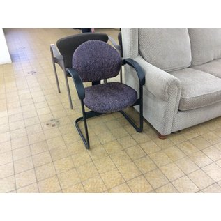 Purple patterned metal frame side chair