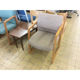 Brown padded wood frame side chair