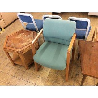 Lt green padded wood frame side chair