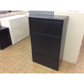 "18x30x49 1/4"" Black 4drawer metal horizontal file cabinet"