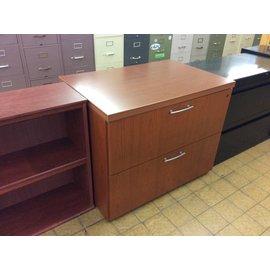 "24x36x29 1/2"" Cherry wood 2 drawer horizontal  file cabinet"