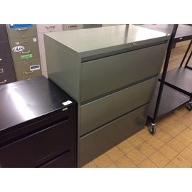 "18x36x41 1/2"" Green metal lateral file cabinet"