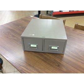 Tan metal 2 drawer cardfile bin