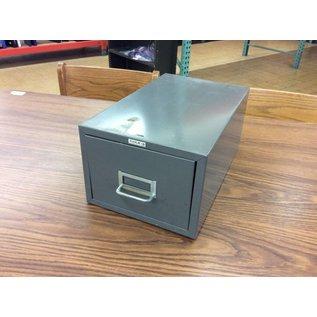 Gray metal single drawer card file bin