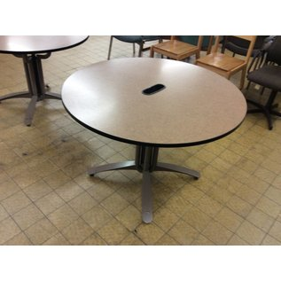 42in. Brown top metal base Round table w/cable insert