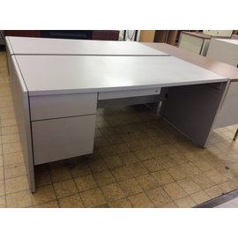 30x66x29 Light Violet Desk w/ L/Pedestal