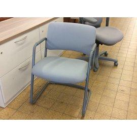 Grey padded metal frame side chair