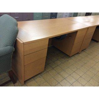 30x66x29 Wood Desk with double pedestal