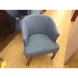 Blue side Chair on castors