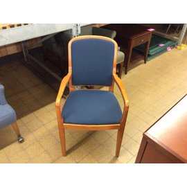 Blue Padded Wood Frame Side Chair