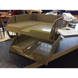 Beige 2 Tier plastic paper tray