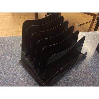 6 Slot Black Plastic File Folder/letter Holder