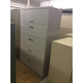 "18x36 1/8x64 3/4"" Light gray 5 Drawer Lateral File Cabinet"