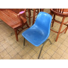 Blue plastic metal frame side chair