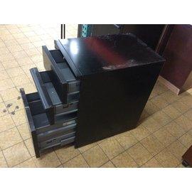 3 Drawer Black Metal Filing Cabinet on Castors (missing drawer handles)