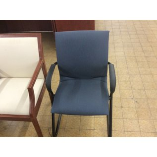 Metal Frame Blue Padded Side Chair