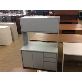 45x25x65 1/4 Light Grey Cabinet w/ Hutch