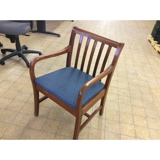 Blue padded Side Chair with wood arms & legs