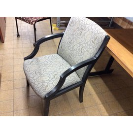 Green pattern Side Chair with black arms and legs