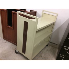 "18x37x42"" beige metal Book Cart on castors"