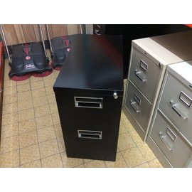 15x28 1/2x27 1/2 Black Metal 2 Drawer Metal Filing Cabinet