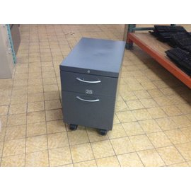 23x15x22 1/2 Gray 2 Drawer Metal cabinet w/file drawer on castors