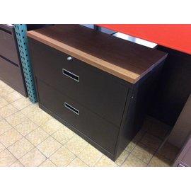"18x36x28 1/2"" brown metal Lat. file with wood top"