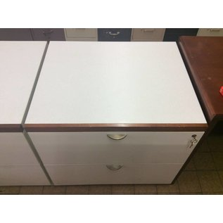 30x25x28 White Wood 2 Drawer Lateral File