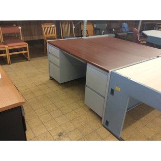 30x60x30 Light Gray Metal Frame Double Pedestal Desk
