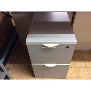 "16x22x26 1/2"" Gray 2 drawer vertical file cabinet (slight damage on top)"