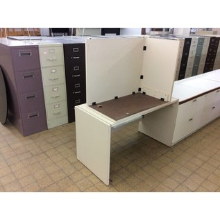 "24x48x29"" Beige Wood desk w/36"" Left Return"